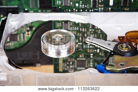 Detailed View Of Hard Disk Drive Inside.