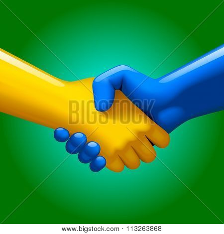 Handshake of blue and yellow artificial hands on green background. Symbol and metaphor of business partnership and high technology. Contain the Clipping Path