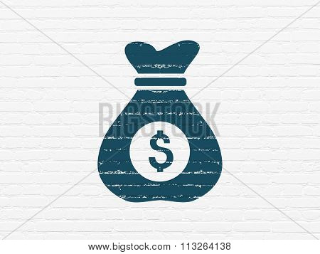 Finance concept: Money Bag on wall background
