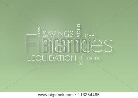 Finances Text On Green