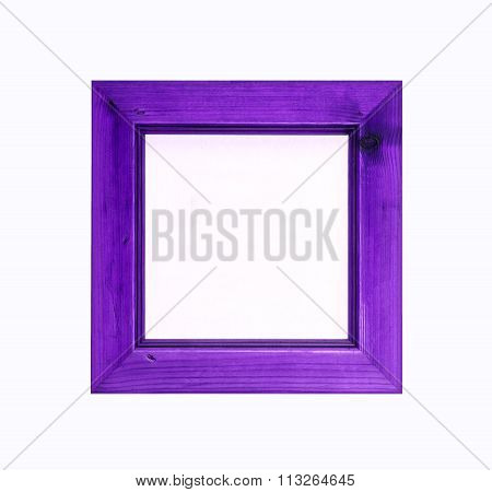 Purple, Square, Wooden Picture Frame Isolated On White Background.