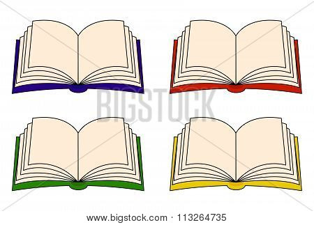 Open Book Vector Clipart Set, Symbol, Icon  Design. Illustration Isolated On White Background.
