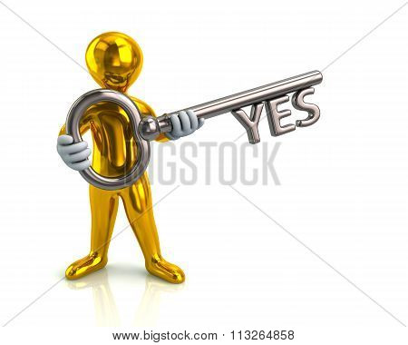 Golden Man And Silver Key With Yes