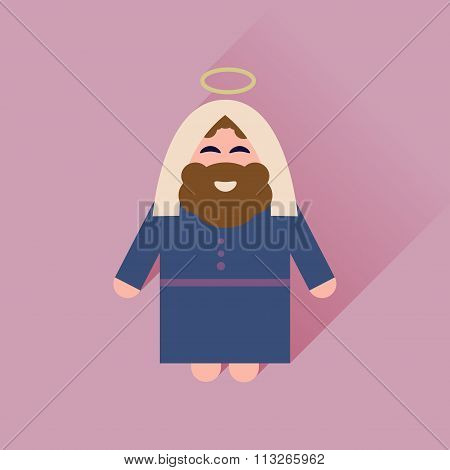 Flat icon with long shadow Father Jesus Christ