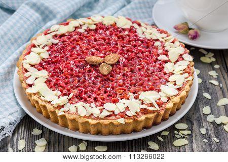 Homemade Pink Praline Tart, Almond Tart.