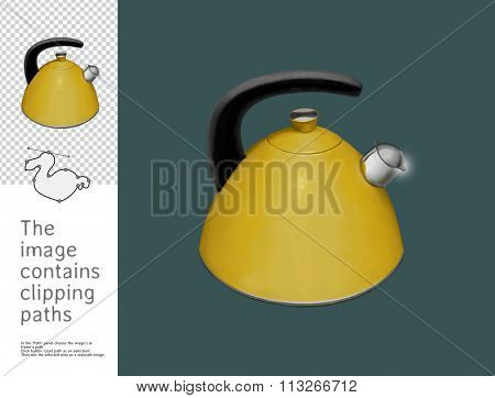 The illustration of the yellow kettle with a whistle.  A part of Dodo collection - a set of educational cards for children. The image has clipping paths and you can cut the image from the background.