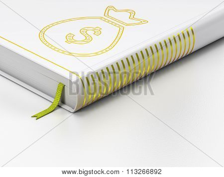 Banking concept: closed book, Money Bag on white background