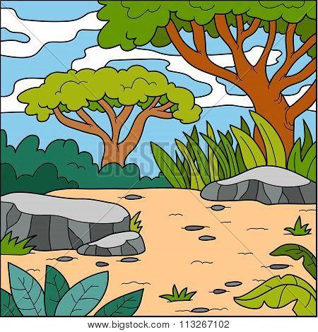 Vector Illustration, Natural Background (savanna)