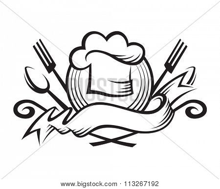 monochrome illustration of a chef hat with spoon, fork and ribbon