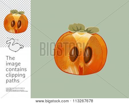 The illustration of a split persimmon.  A part of Dodo collection - a set of educational cards for children. The image has clipping paths and you can cut the image from the background.