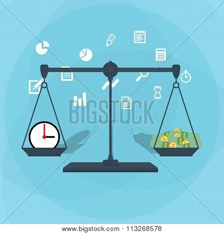 Scale weighing money and time