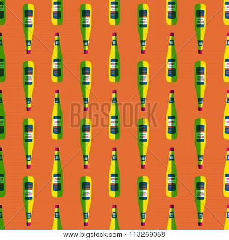 Pop Art Liquor Bottle Seamless Pattern.