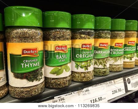 BANGKOK Thailand - November 11 2015: 'Durkee' herbs and spices products on shelf in supermarket.