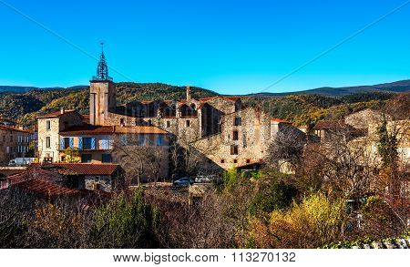 Ancient Village In The Pyrenees-orientales, Southern France
