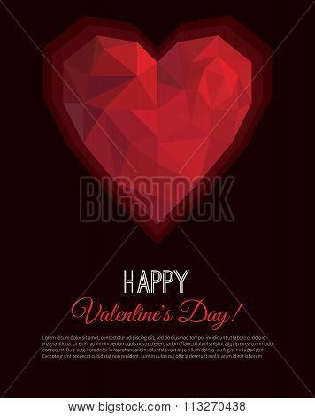 Greeting Card Or Poster Valentines Day In Low Poly Triangle Style