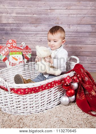 Baby Boy Christmas Portrait
