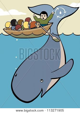 EPS8 editable vector cartoon illustration of a teacher in a boat using a whale to teach a field class of children