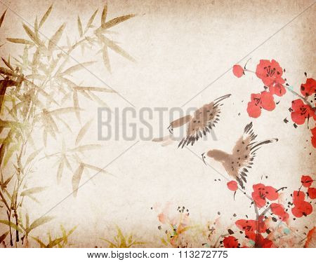 Traditional chinese painting Spring plum blossom on Old vintage paper background