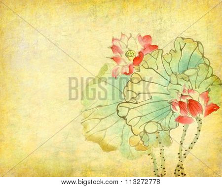 Chinese painting of a Lotus on old Paper Background