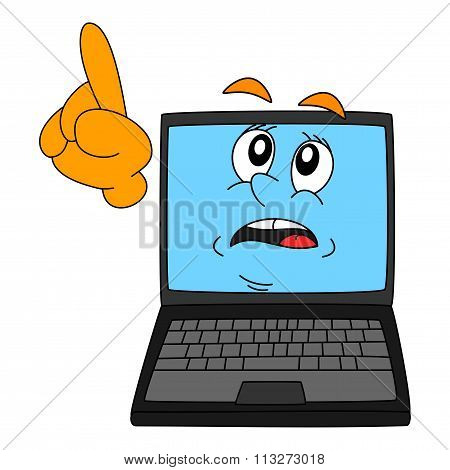 A Computer With A Warning Expression And Pointing Finger