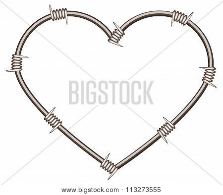 Heart shape of barbed wire
