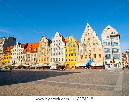 Typical colorful houses on Market square in Wroclaw