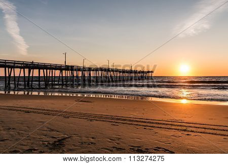 Virginia Beach Fishing Pier and Beach at Dawn