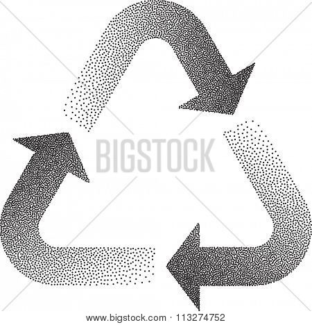 Recycle Stipple Effect Vector Illustration