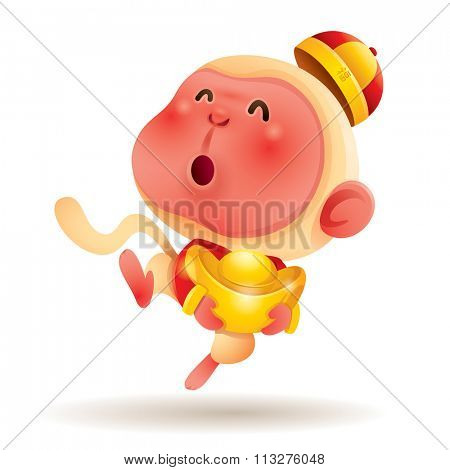 Chinese Zodiac - Monkey. Chinese New Year. Monkey holding a chinese gold.