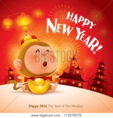Happy New Year! The year of the monkey. Chinese New Year 2016.