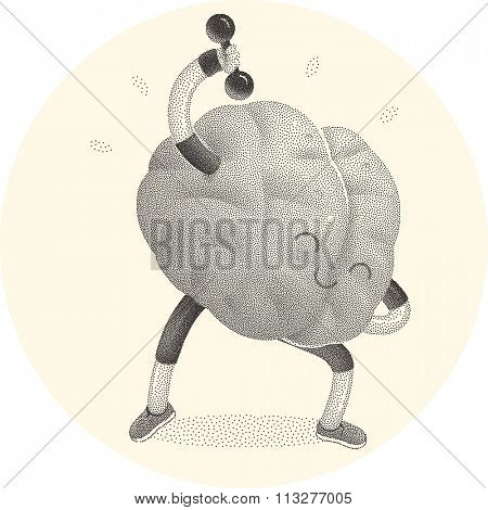 Train your brain series - stippled, dotted vector illustration of brain activity. Part of a Brain collection.