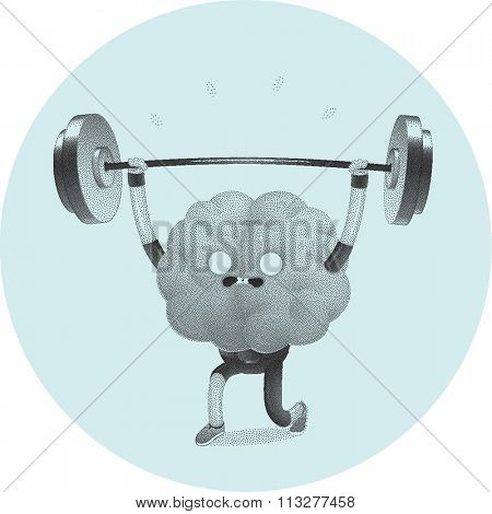 Train your brain series - stippled, dotted vector illustration of brain activity, weightlifting. Part of a Brain collection.