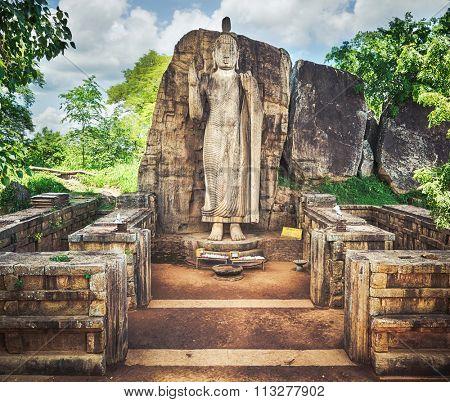 Avukana Buddha Statue near Kekirawa, Sri Lanka