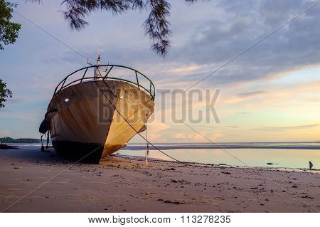 The Wrecked Ship with sunrise at Nagalang beach, Labuan, Malaysia.