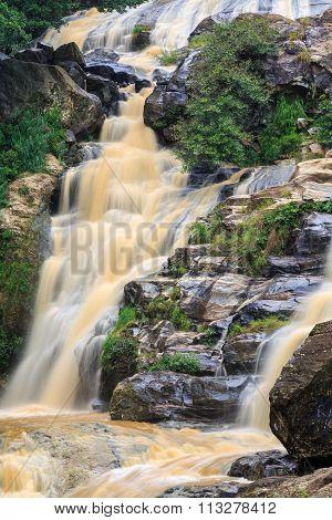 Waterfall In The Rocky Hill Of Sri Lanka