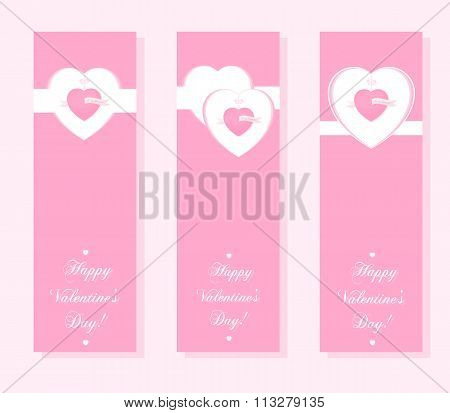 Banner For Design Posters Or Invitations On Valentine's Day With Cutest Symbol Hearts And Title.