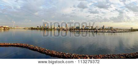 Skyline and marina of Long Beach