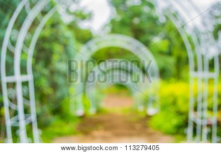 Blur Image Of  Stairway With Open Space To The Green Garden .