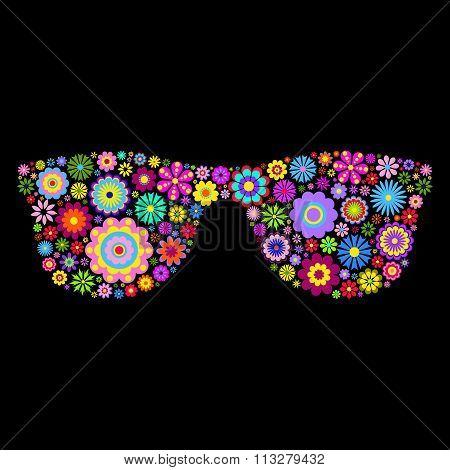 floral eyeglasses on black background