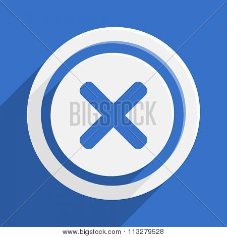 cancel blue flat design modern vector icon for web and mobile app