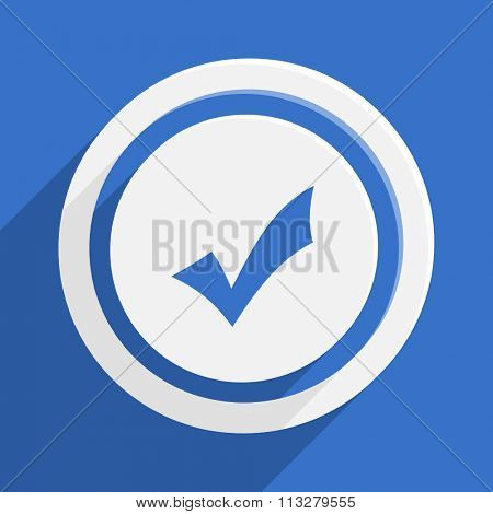 accept blue flat design modern vector icon for web and mobile app