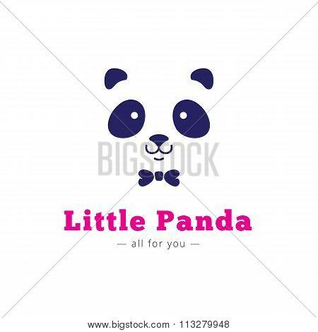 Vector minimalistic panda head with bow tie logo