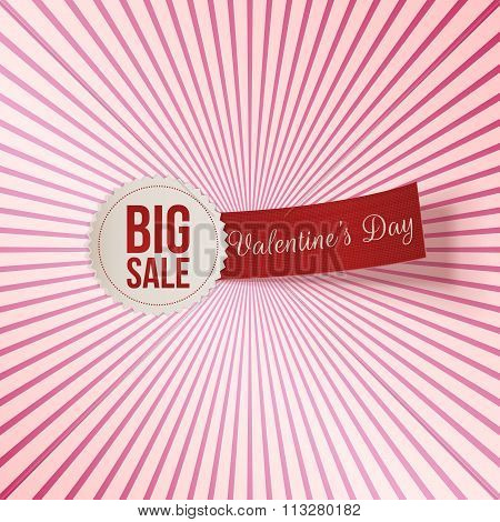 Valentines Day Big Sale Label and red Tag