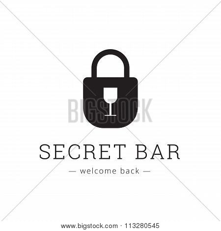 Vector minimalistic secret bar logo with little glass as a keyhole