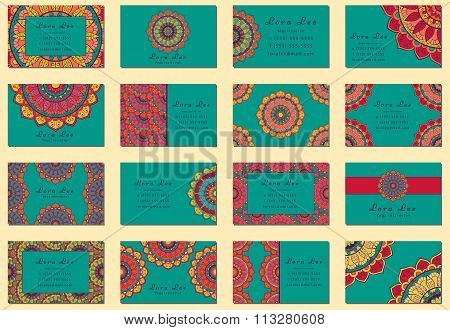 Flat Mandala Business Card Collection