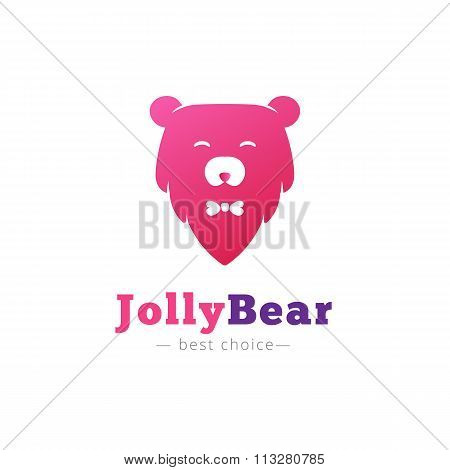 Vector cute minimalistic bear head with bow tie logo