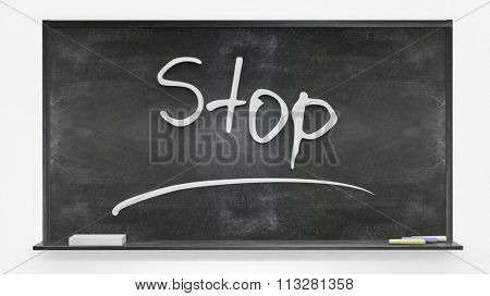 'Stop' written on blackboard