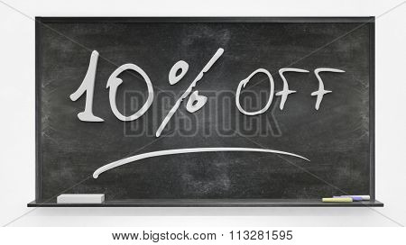 Ten per cent off written on blackboard