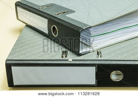 Closeup Group Of Document File On Wood Desk Background