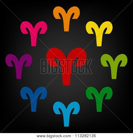 Zodiac sign Aries. Vector zodiac signs set